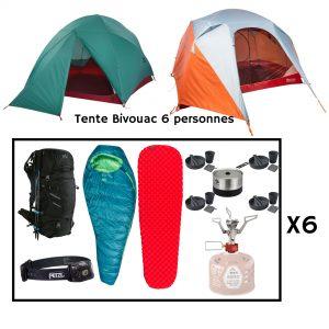 Location pack bivouac pour 6 personnes